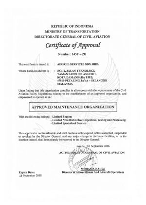 DGCA Certificate of Approval