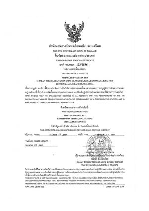 CAA Thai Repair Station Certificate